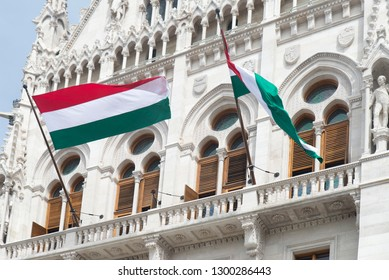Hungarian flags outside the Hungarian Parliament, Budapest