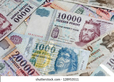 hungarian forint background from banknotes