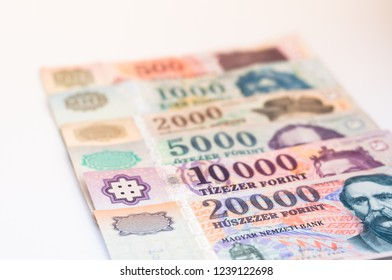 Hungarian Forint banknotes - business, financial  background. Selective focus.