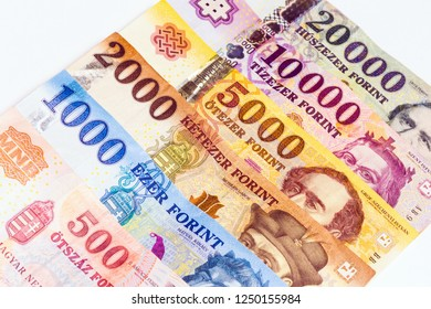 Hungarian forint banknotes, European currency, paper money.