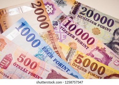Hungarian forint banknotes, European paper currency, finance, banking and exchange concept.