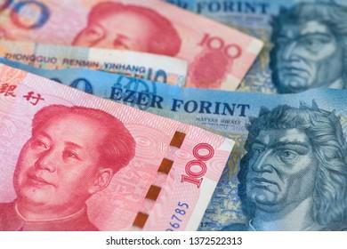 Hungarian Forint and China Yuan Renminbi currency. HUF to RMB China Hungary