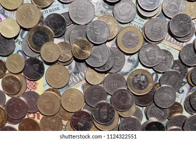 Hungarian forint coins and banknotes