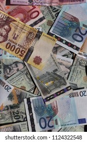 Hungarian forint and Euro banknotes