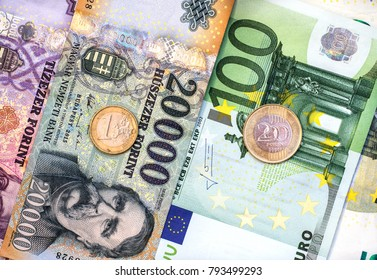 Hungarian forint and euro banknotes and coins. Forint euro exchange rate.
