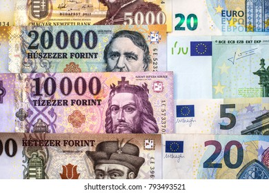 Hungarian forint and euro banknotes. Forint euro exchange rate.