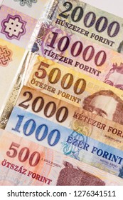 Hungarian forint, European banknotes, colorful paper money, cash and exchange concept.