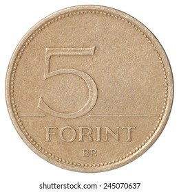 Hungarian Forint five closeup isolated on white background