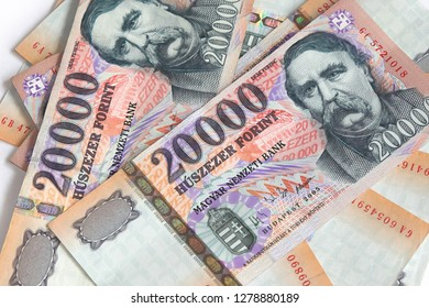 hungarian forint - Pile of banknotes as a background