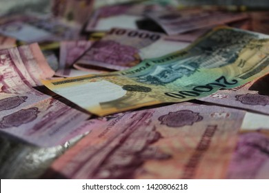 Hungarian forints are laying on the floor