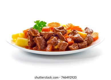 Hungarian goulash, beef, pork stew with potatoes, isolated on white background