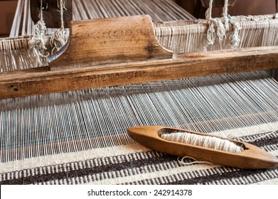 Hungarian homespun. Traditional weaving hand loom for carpets in Transylvania.
