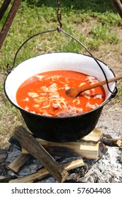 Hungarian kettle to make a spicy outdoor soup