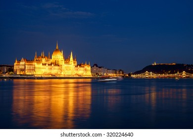 Hungarian landmarks,panorama of Budapest at night