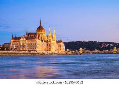 Hungarian landmarks,panorama of Budapest at night, Hungary