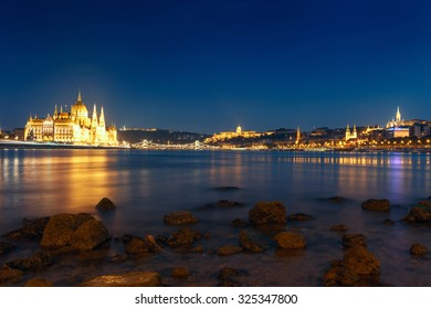 Hungarian landmarks,panorama of Budapest at night-Hungary
