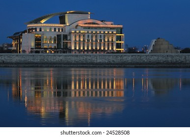 Hungarian national theater at night from Buda side.