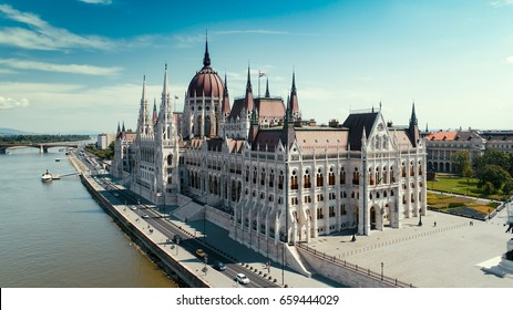 Hungarian parliament aerial view