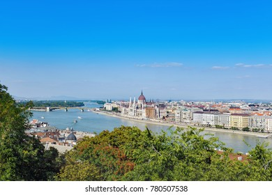 Hungarian Parliament in Budapest, Hungary. View from Castle hill