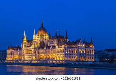 Hungarian parliament in Budapest, illuminated building in the night