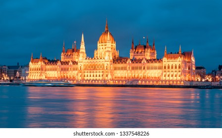 Hungarian parliament in Budapest at twilight blue hour