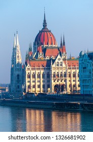 Hungarian parliament in Budapest, view from other bank of Danube