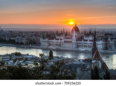 Hungarian Parliament Building in Budapest, Hungary at Sunrise