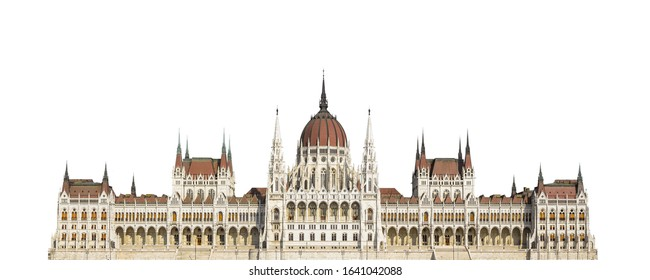 The Hungarian Parliament Building in Budapest isolated on white background