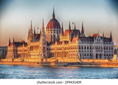 Hungarian Parliament Building in Budapest next to Danube river. Construction started in 1885 and the building was completed in 1904. The most famous representative building of Hungarian capital city.