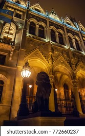 Hungarian Parliament building in Budapest, night photo