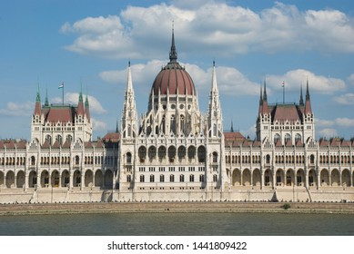 Hungarian Parliament Building in Budapest on Danube river banks
