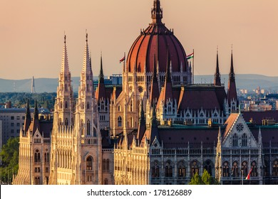The Hungarian Parliament Building in Budapest at Sunset