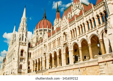 Hungarian parliament building close up and blue sky