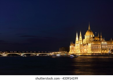 Hungarian Parliament Building and Margaret Bridge on the Pest bank of Danube River, Budapest, Hungary