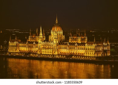 Hungarian Parliament Building in the night