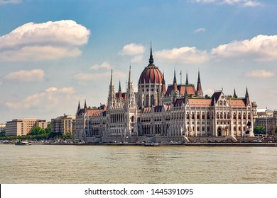 The Hungarian Parliament Building on the banks of the Danube River located on the Pest side of Budapest.  The third largest Parliament building in the world.