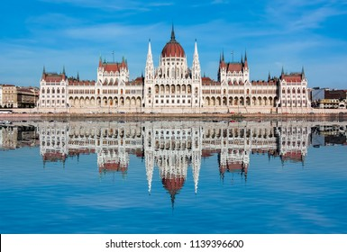 Hungarian Parliament Building with reflection in Danube river, Budapest, Hungary