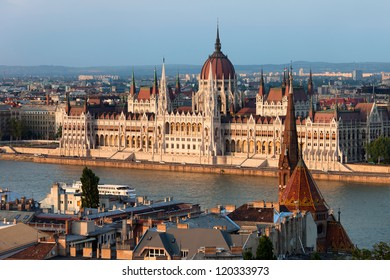 Hungarian Parliament Building at sunset in the city of Budapest, Hungary.