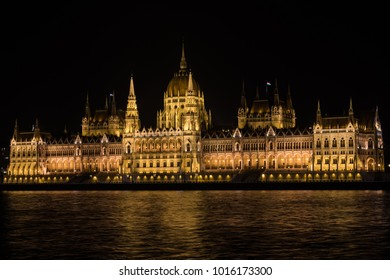 Hungarian parliament by night, reflected on the Danube, Budapest