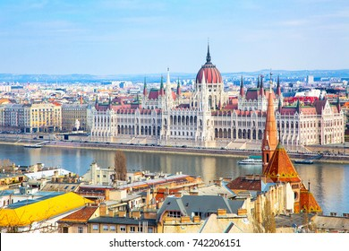 Hungarian Parliament and city banner panorama, Budapest, Hungary
