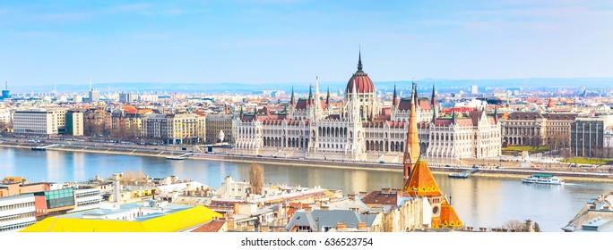 Hungarian Parliament and city skyline banner panoramic background, Budapest, Hungary