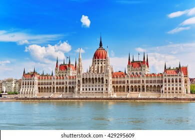 Hungarian Parliament at daytime. Budapest. View from Danube riverside.Hangary