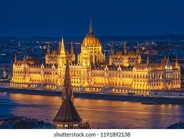 Hungarian Parliament in dusk