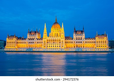 Hungarian Parliament at night, Budapest, Hungary