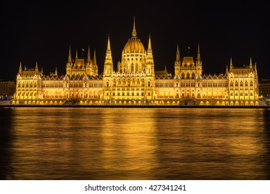 The Hungarian Parliament on the banks of the Danube River in Budapest