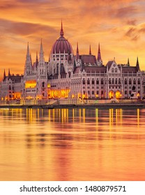 The Hungarian Parliament on the Danube River at Sunrise in Budapest, Hungary