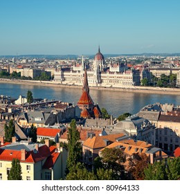Hungarian Parliament view from Buda Castle Fishermen's Bastion