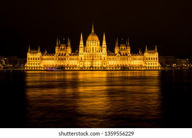 Hungarian Parliment night panoramic view, Budapest, Hungary