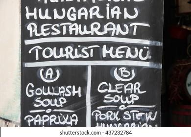 Hungarian restaurant menu in Budapest. Blackboard chalk text.