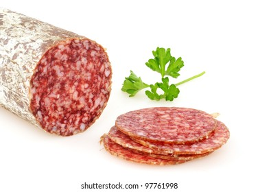 Hungarian salami in a studio shot